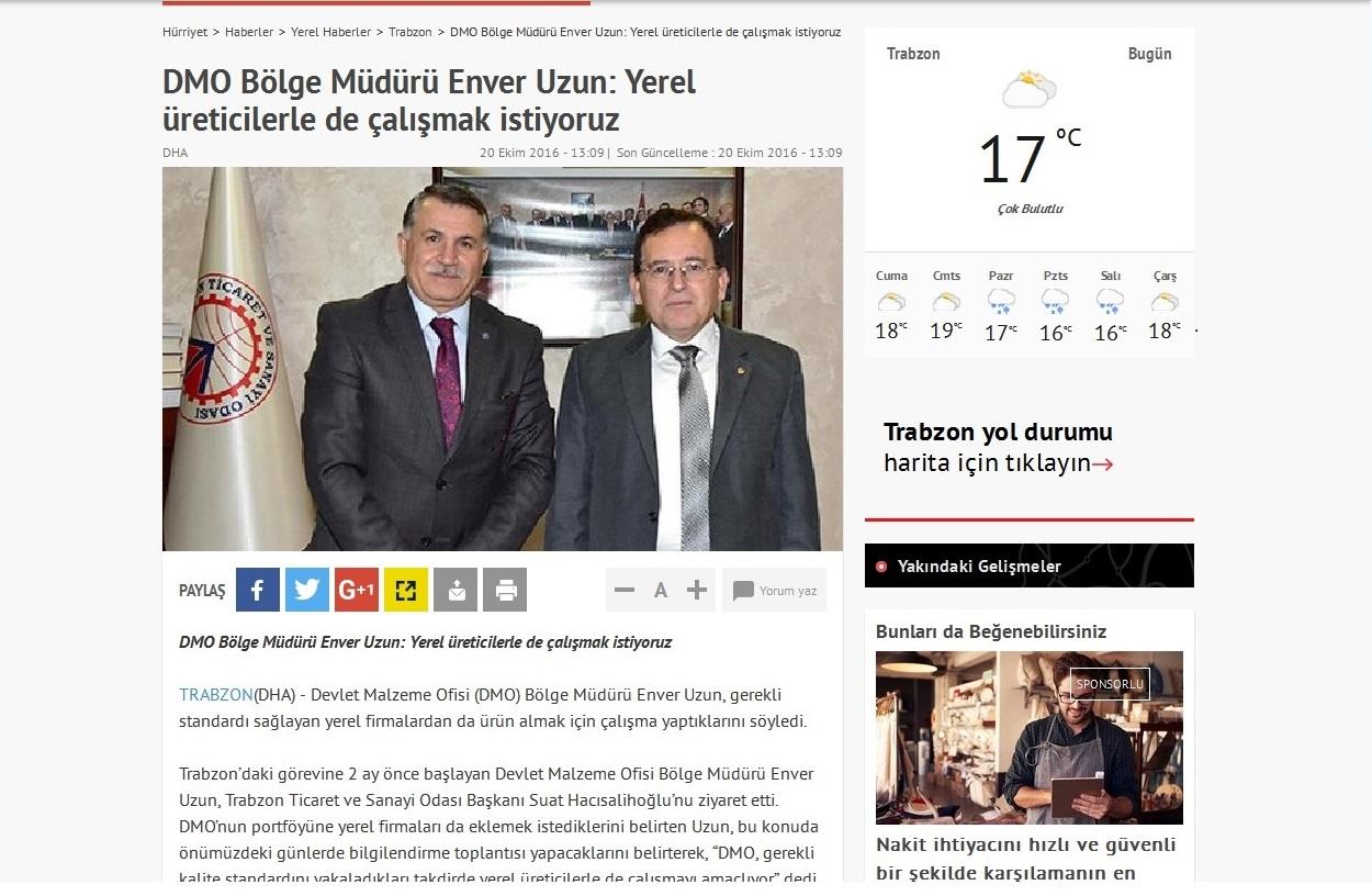 Trabzon Ticaret ve Sanayi Odasına Gerçekleştirilen Ziyaret